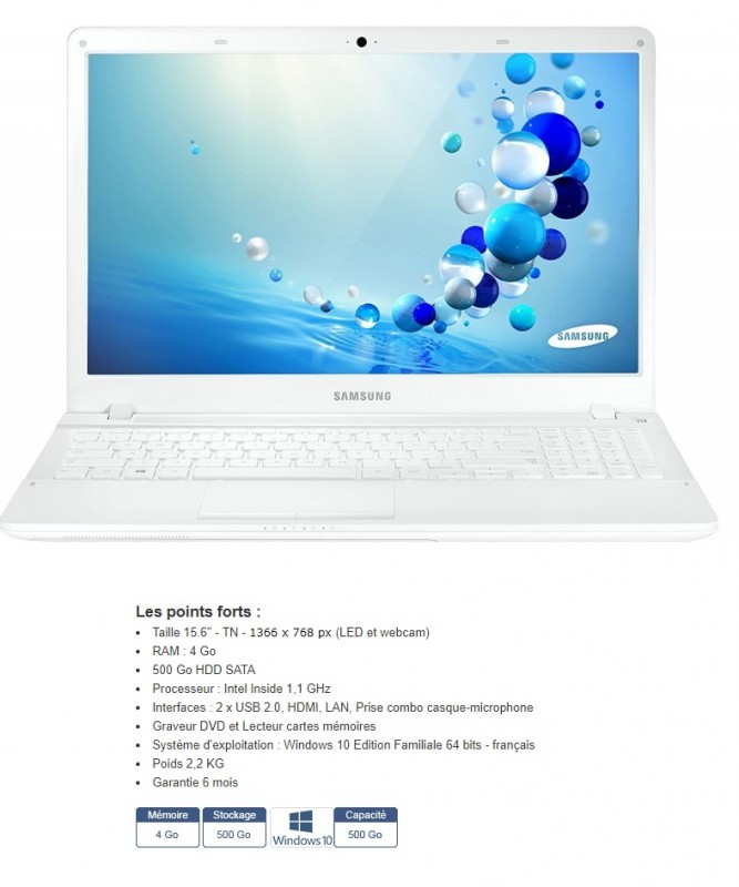 Pc portable reconditionné samsung notebook 15.6