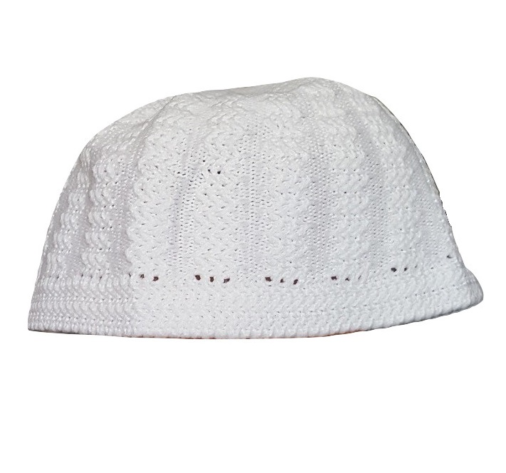 Chachia blanche kufi blanc taille M (57 cm, 22.5 inch)