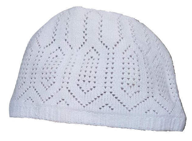 Chachia blanche kufi taille M (57 cm, 22.5 inch)